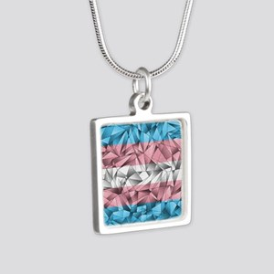 Abstract Transgender Flag Silver Square Necklace