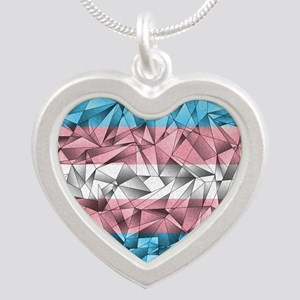 Abstract Transgender Flag Silver Heart Necklace