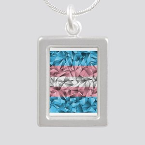 Abstract Transgender Fla Silver Portrait Necklace