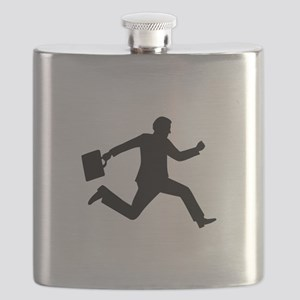 Jumping running business man Flask