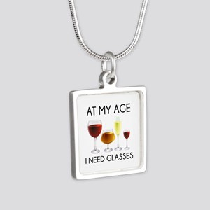 At My Age I Need Glasses Silver Square Necklace