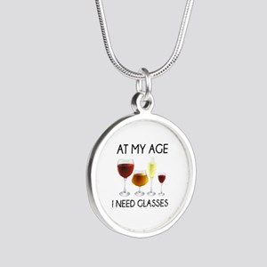 At My Age I Need Glasses Silver Round Necklace