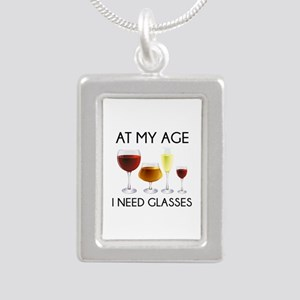 At My Age I Need Glasses Silver Portrait Necklace