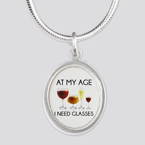 At My Age I Need Glasses Silver Oval Necklace