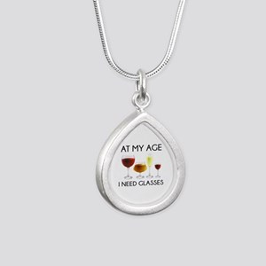 At My Age I Need Glasses Silver Teardrop Necklace