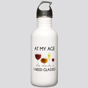 At My Age I Need Glasses Stainless Water Bottle 1.