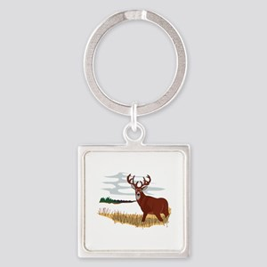 Whitetail Deer Scene Keychains