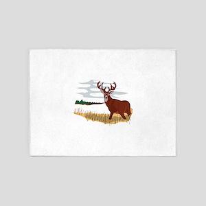 Whitetail Deer Scene 5'x7'Area Rug