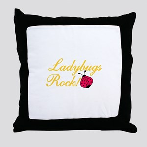 Ladybugs Rock Throw Pillow