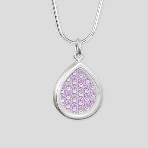 Bunny Wave Silver Teardrop Necklace