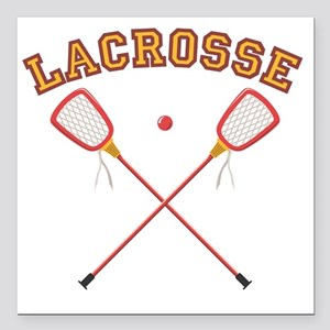 "Lacrosse Sticks Square Car Magnet 3"" x 3"""