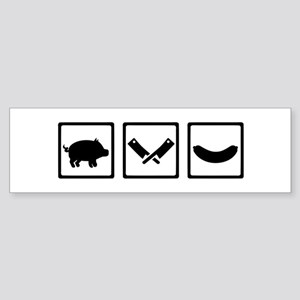 Butcher pig cleaver sausage Sticker (Bumper)