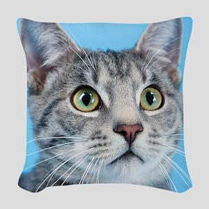 Beautiful Green Eyed Kitty Cat Woven Throw Pillow