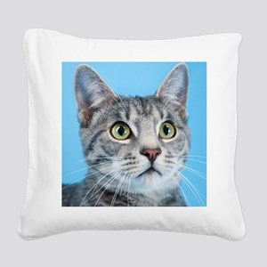 Beautiful Green Eyed Kitty Cat Square Canvas Pillo