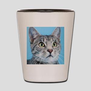 Beautiful Green Eyed Kitty Cat Shot Glass