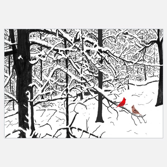 Snow Scene and Cardinals