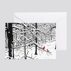 Snow Scene and Cardinals Greeting Card