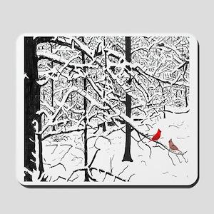 Snow Scene and Cardinals Mousepad