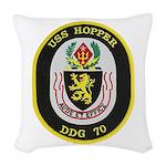 USS HOPPER Woven Throw Pillow