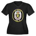 USS HOPPER Women's Plus Size V-Neck Dark T-Shirt