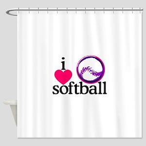 I Love Softball/Ball Shower Curtain