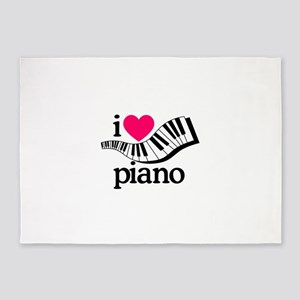 I Love Piano/Keyboard 5'x7'Area Rug