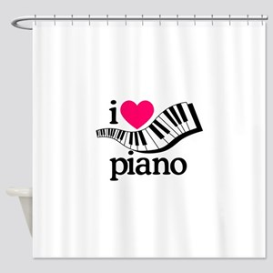 I Love Piano/Keyboard Shower Curtain