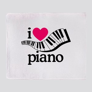 I Love Piano/Keyboard Throw Blanket