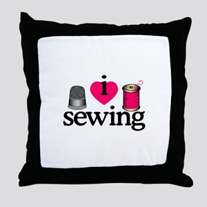 I Love Sewing/Thimble & Spool Throw Pillow