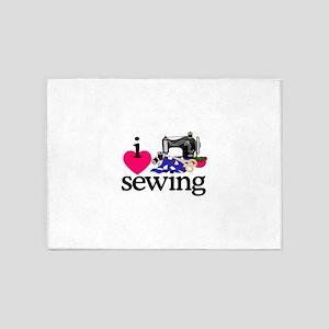 I Love Sewing/Machine 5'x7'Area Rug