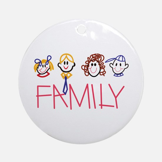 Stick Family Ornament (Round)