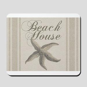 Beach House Starfish Sandy Coastal Decor Mousepad