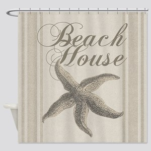 Beach House Starfish Sandy Coastal Decor Shower Cu