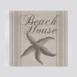 Beach House Starfish Sandy Coastal Decor Throw Bla