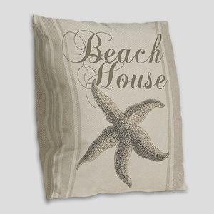 Beach House Starfish Sandy Coastal Decor Burlap Th