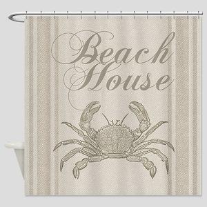 Beach House Crab Sandy Coastal Decor Shower Curtai