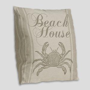 Beach House Crab Sandy Coastal Decor Burlap Throw