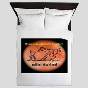 Horse Won't Go There Queen Duvet