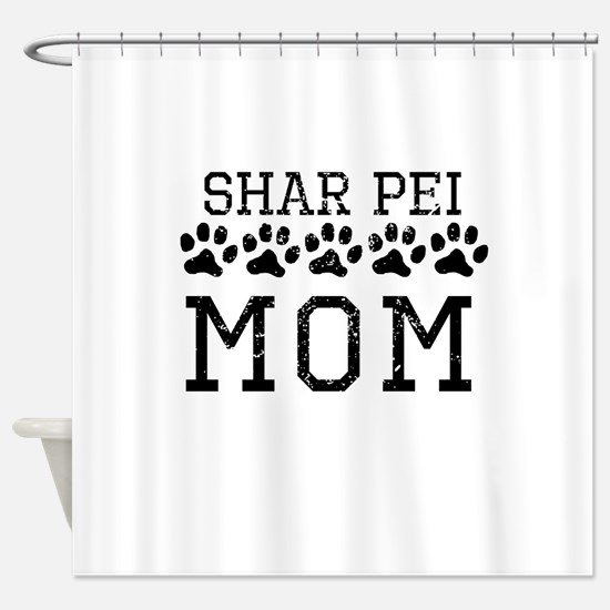 Shar Pei Mom (Distressed) Shower Curtain