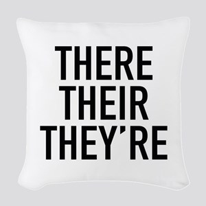 There Their They're Woven Throw Pillow