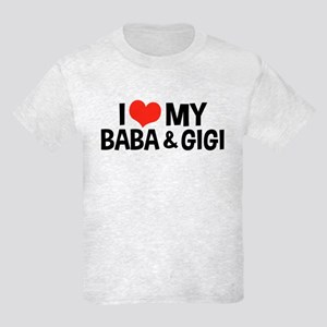 I Love My Baba and Gigi Kids Light T-Shirt