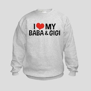 I Love My Baba and Gigi Kids Sweatshirt