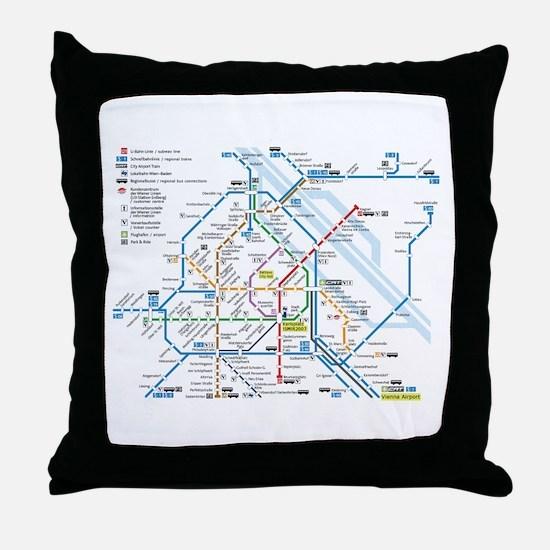 Vienna Metro Map Throw Pillow