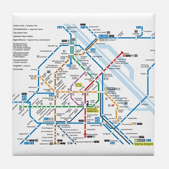 Vienna Metro Map Tile Coaster