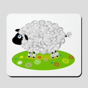 Wooly Lamb in Flower Field Mousepad