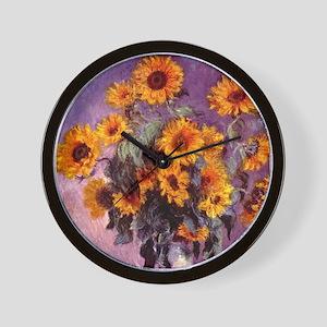 Sunflowers by Monet Wall Clock