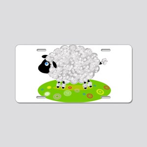 Wooly Lamb in Flower Field Aluminum License Plate