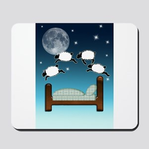 Bed, Sky, and Counting Sheep at Night Mousepad