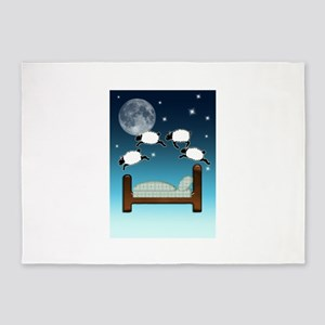 Bed, Sky, and Counting Sheep at Nig 5'x7'Area Rug