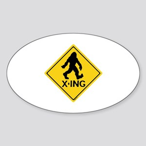 Bigfoot X-ing Sticker (Oval)
